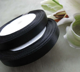 """10 pcs 3 8""""(10mm) Satin Ribbon Black color Wedding Party Craft Sewing Decorations (1 Roll 25yds)"""