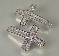 Wholesale Side Cross Silver Connector - free shipping Hot Silver Plated Curved Side Ways Double White Crystal Rhinestones Cross Bracelet Connector Charm Bead