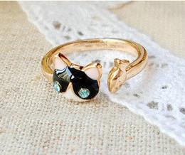 2015 Fashion Jewelry Cute Blue Rhinestone Cat Ring Adjustable Alloy Rings Korea Fr. Bague Enamel Animal