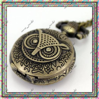 Wholesale Hot New Antique Owl Quartz Bronze Pendant Pocket Watch Necklace Xmas Gift Free Ship