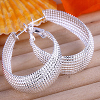 Wholesale New Fashion Silver Big Egg Shape Concave Hoops Earrings Ladies Eardrop Jewelry pairs