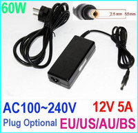 Wholesale 60W AC100 V to DC V A Power Supply Adapter changer for LCD LED Stirp EU US AU BS Plug Optional