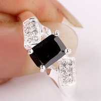 Cheap New 5x7mm Oblong YIN Birthday Gift Girlfriend black Onyx Silver Ring Women Fashion Sz 8 JM0748