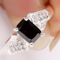 Cheap 5x7mm Oblong Gift Yin black Onyx Silver Ring Women Fashion Size 7 JM0768
