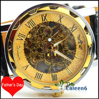 Wholesale Skeleton Men Luxury Quality Leather Automatic Mechanical Watches Gift for Father s Day WY8018