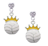 Wholesale 2013 New Jewelry Sport Charm Volleyball Crown Mini Heart Charm Earrings Factory Price S