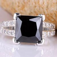 Cheap 9x9mm Square Stone Party Gift Yin black Onyx Silver Ring Size 7 Women Fashion JM0698