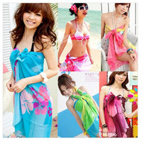 Wholesale Sexy Pareo Dress Sarong Bikini Cover Up Scarf Wrap Swim swimwear Beach Beautiful Charming Colors