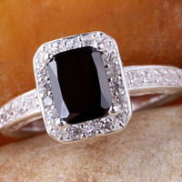 Cheap Cute 6x8mm Oblong YIN Black Onyx Women Silver Ring Size 7 Slim Band JM0773