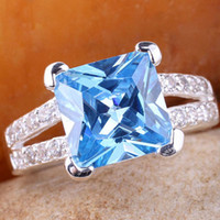 Wholesale 9x9mm Square Stone YIN Gift for Mother Blue Topaz Silver Ring Size Women JM7814