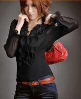 Formal Women Cotton 11 Free shipping 2014 new women fashion dresses vintage ruffles full sleeves shirts top camisa 5pcs