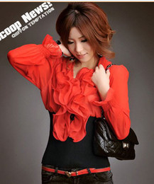 Wholesale 11c new women fashion dresses vintage ruffles full sleeves shirts top camisa