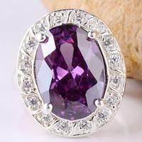 Wholesale 10x14mm Oval Cut Birthday Party Gift Yin purple Amethyst Tray Shape Lady Silver Ring SZ6 JM0701