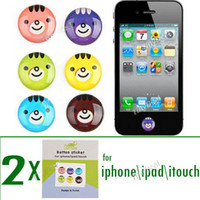 Wholesale 12 x Round Cute Animal Design Self Adhesive Home Button Sticker Personalized Button Cover for Apple