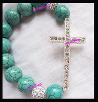 Celtic cross bracelets - Crystal Bead Silver Bracelet Handmade Sideways Cross Sideway Cross Bracelet Turquoise