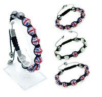 Wholesale 10mm union jack united kingdom flag beads braided wrap charm bracelet hot trend jewelry