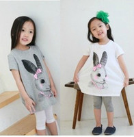 Wholesale 2012 children girls bowknot rabbit round neck short sleeve Long T shirt vest overshirt dress SZ50