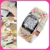 Wholesale korea rope watch woven cracked leather band wide belt watch rainbow watch colors