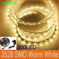 Теплый белый Гибкая светодиодная лента SMD 3528 300 СИД Ролл LED плоский свет веревочки + адаптер питания 5м / Lot