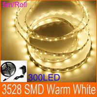 20M / Lot Теплый белый Гибкая светодиодная лента SMD 3528 300LED 12V 2A Адаптер питания светодиодный плоский канат