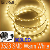Wholesale Warm white Flexible LED Strip Light SMD LED Power adapter M LED flat rope light
