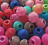 Wholesale HOT EMS tennis beads interval beads MM Mesh Beads Basketball wife earrings tennis beads