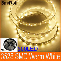 LED Flexible Light Strips Blanco cálido 3528 SMD LED luz de cuerda plana 300LED No Adaptador de corriente 5m