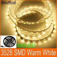 LED Flexible Light Strips Blanco cálido 3528 SMD LED luz de cuerda plana 300LED No Adaptador de corriente 10m