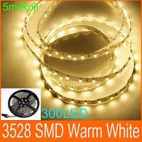 LED Flexible Light Strips Blanco cálido 3528 SMD LED luz de cuerda plana 300LED No Adaptador de corriente 30m