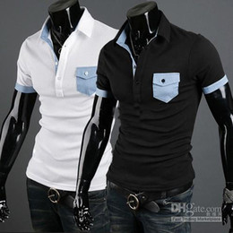Wholesale 2012 HOT Korea New Mens Casual Slim T shirts short Sleeve shirt mens t shirt black b