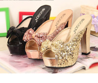 Wholesale 2012 Champagne Gold Black Glittering Shinning Peep Toe High Heel Dress Shoes Colors