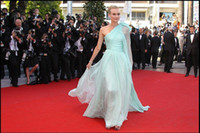 Wholesale The th Cannes Red Carpet One shoulder Flowing Ruched Poly Chiffon Celebrity Dresses Prom Dresses