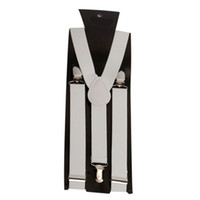 Wholesale Clip on Braces Elastic Y back Suspenders White Ship From USA F3027WH