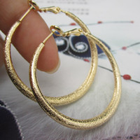 Wholesale Women Hoop Earrings K Yellow Gold Filled GF Wives big Lady s Earrings Jewelry mm