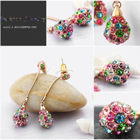 Wholesale Chandelier earrings multi colors18kGP gold plating zinc alloy with swarovski element crystals BA