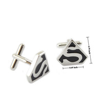 Wholesale Men s Cufflinks Superman Cufflinks New Silver Ship From USA Pairs F00291