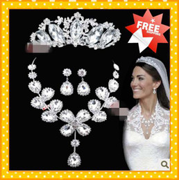 Wholesale 2015 Fashion Kates Bridal Jewelry Royal Crowns Tiaras Crystals wedding Bridal Sets Set Accessories Bridal Jewelry Sets