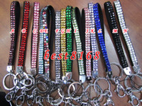 Wholesale Bling Lanyard Crystal Rhinestone with claw clasp Badge Holder for Mobile MP3 key chain