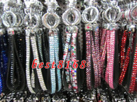 Wholesale Bling Lanyard Crystal Rhinestone claw clasp ID Badge Holder for Mobile key chain