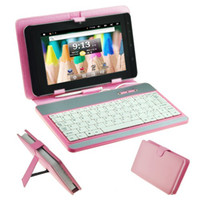 Wholesale USB Keyboard Protective Leather Case Stylus Pen For inch Tablet PC MID Pink