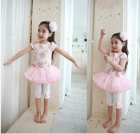 Wholesale 2012 children s girls textile printing T shirt skirt primer pants twinset two piece dress suit TZ16