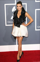Wholesale Black White Mini Halter Grammy Awards New Arrvial Chiffon faced Satin Celebrity Party Dresses