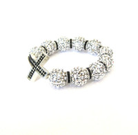 Wholesale Black Sideway cross Bracelet with Swavorski Sideways Cross Bracelet in silver with black rhinestones