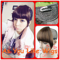 Wholesale 4 Colors Browns Blacks One Piece Short Fringe Sexy Bangs Front Women Girls Clip on Hair Extension