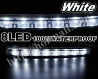 Fog/DRL Light 194-168-158-161-175 White Wholesale - 2x8 Led Car Truck DRL Daytime Running Lights Day Driving Fog Universal Light DRLHM008