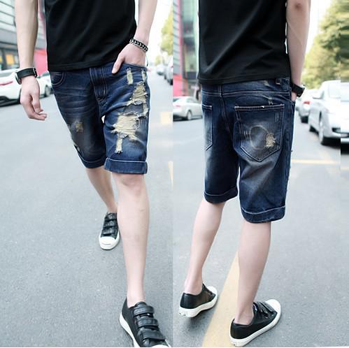 2017 2012 5.10 Scratch Holes Slim Men's Short Jeans Jean Trousers ...