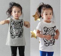 Wholesale 2012 summer new children s clothing boys girls cotton modal T shirt printing Tiger T shir