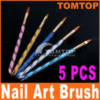 Nail Art Brushes 5 Pcs Plastic 5pcs 2-Way Acrylic Nail Art Design Pen Brush Brushes Cuticle Tips Set free shipping H4560