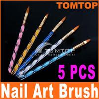 Nail Art Brushes acrylic nail brushes - 5pcs Way Acrylic Nail Art Design Pen Brush Brushes Cuticle Tips Set H4560