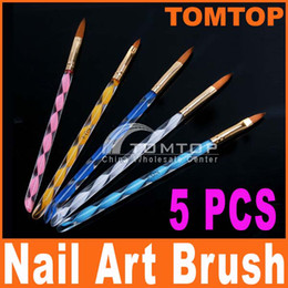 Wholesale 5pcs Way Acrylic Nail Art Design Pen Brush Brushes Cuticle Tips Set H4560